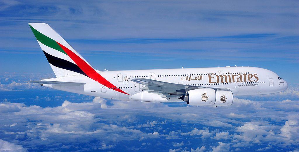 En option, prenez place à bord de la compagnie Emirates