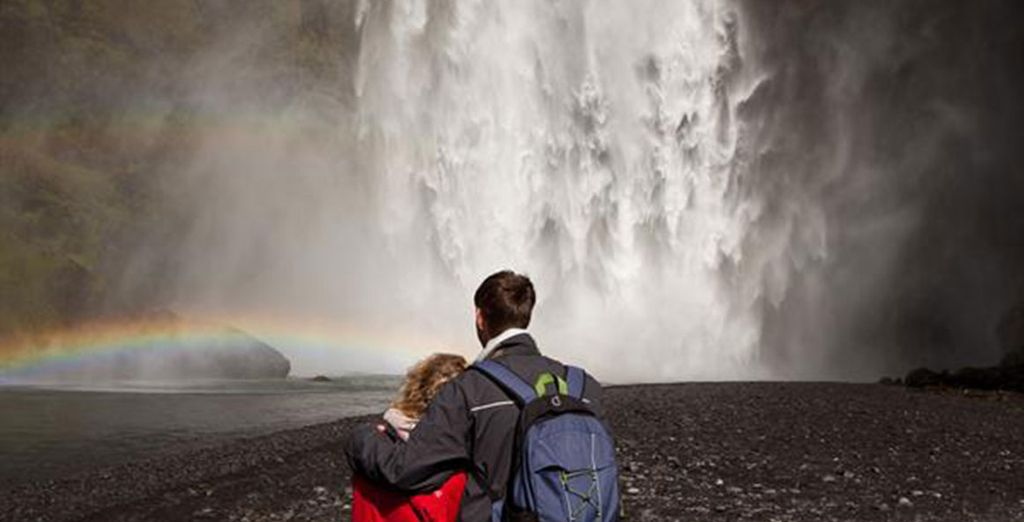 On the way to the Lagoon you'll get up close and personal with the Skógafoss & Seljalandsfoss plunge waterfalls