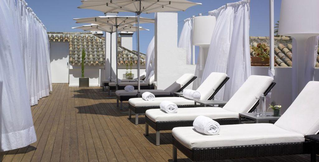 Tanken Sie Sonne auf der Terrasse ...