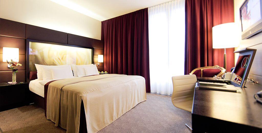 Residieren Sie im eleganten und komfortablen Zimmer