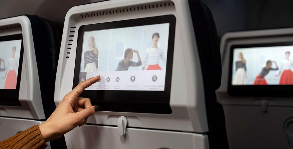 Air France pone a tu disposición una oferta de entretenimiento distinta cada mes, con auriculares de alta calidad y buen aislamiento acústico