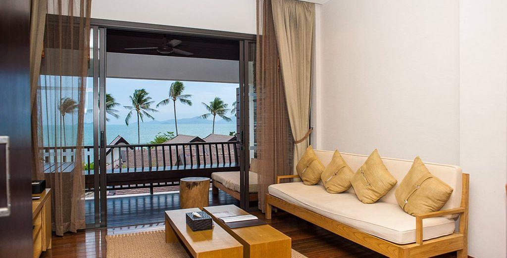 Podrás elegir alojarte en una Suite Deluxe con Vistas al Mar