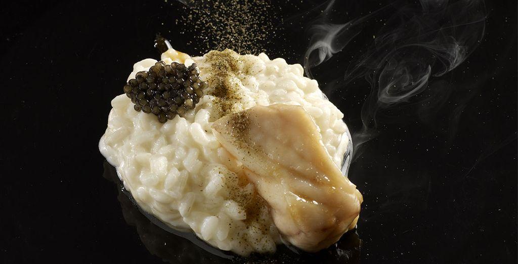 Pruebe el risotto del Chef Davidde