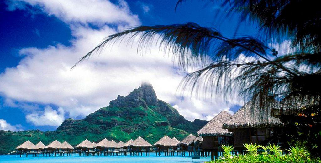 Vista de las villas del Meridien Bora Bora