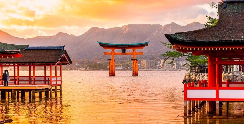 Tendrá la ocasión de visitar el Santuario de Itsukushima con su famoso torii