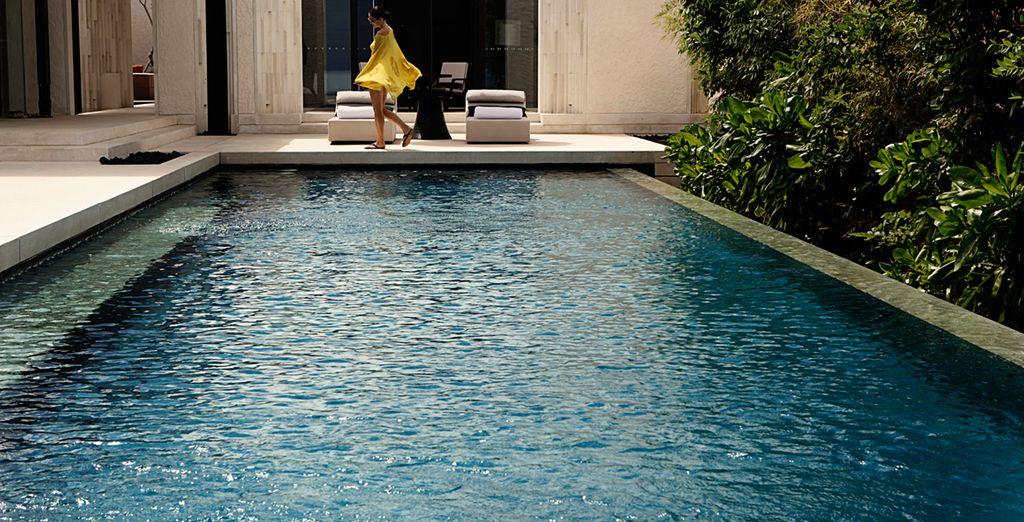 Disfrute de un baño en la piscina