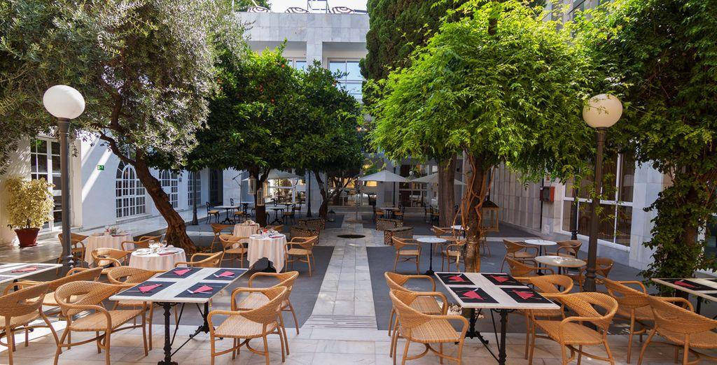Fuentes, palmeras y un ciprés centenario otorgan protagonismo a su patio interior típico andaluz