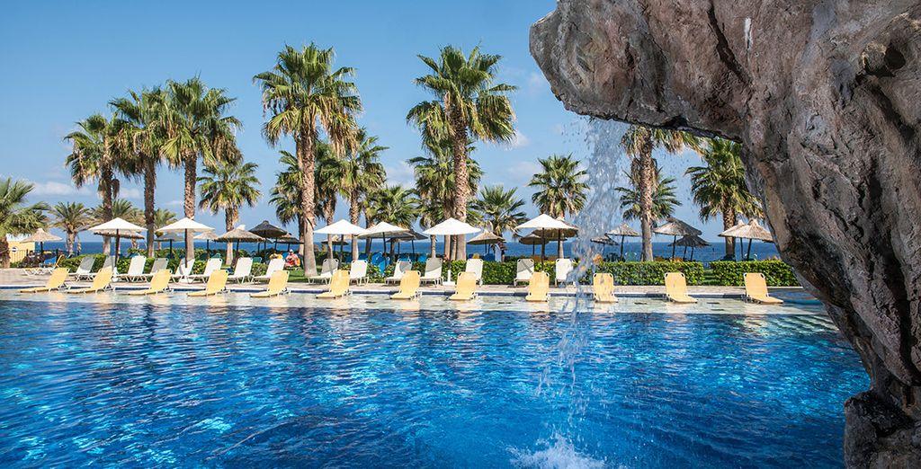 Refrésquese en la piscina del hotel