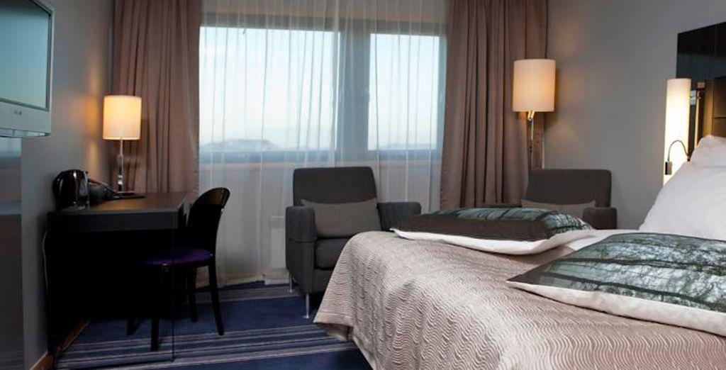 Las habitaciones del Clarion Stavanger Hotel presentan mobiliario de diseño escandinavo