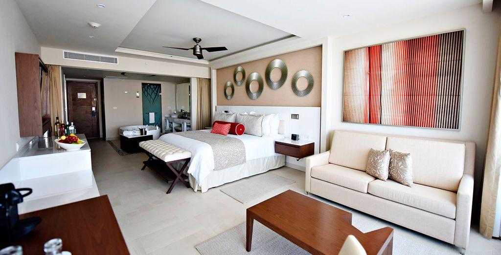 O podrás elegir una Suite de lujo con vistas al océano...