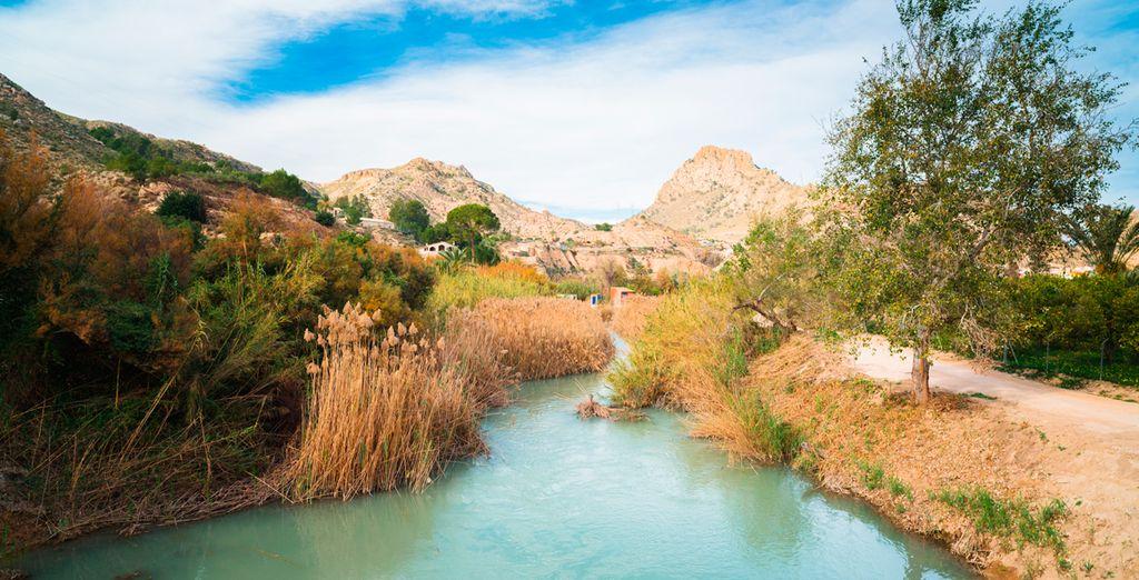 En el interior del Valle de Ricote, donde podrás disfrutar de numerosas rutas de senderismo, escalada, rutas en bicicleta...
