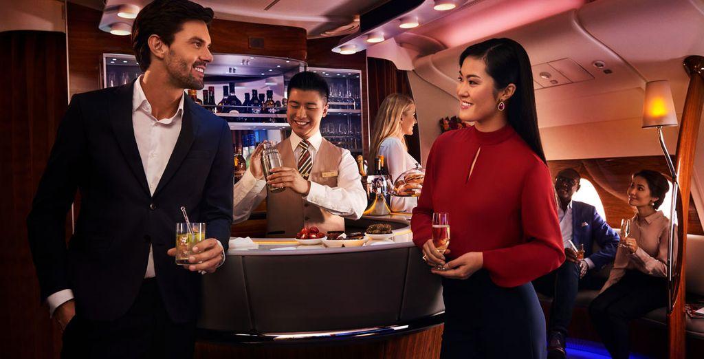Exclusivo salón a bordo, un espacio único a tu disposición durante el vuelo