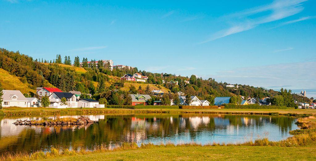 La bonita zona de Akureyri