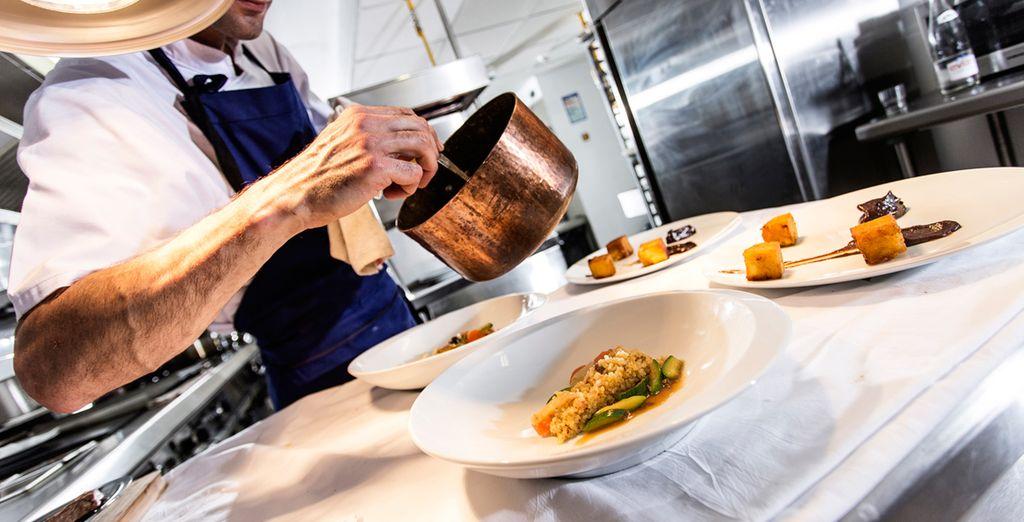 ...en el Restaurante Au comptoir de Fontcaude, bistrot by J&L Pourcel