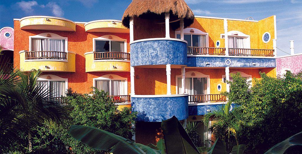 Un hotel de colores alegres