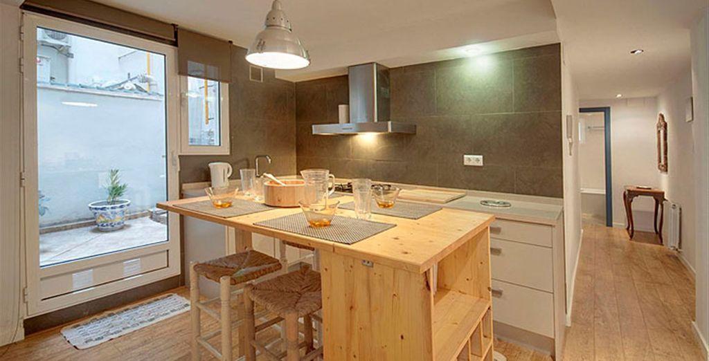 Apartamento 4: cocina moderna y equipada
