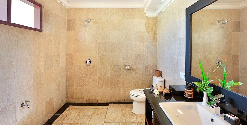 Y un baño propio moderno...