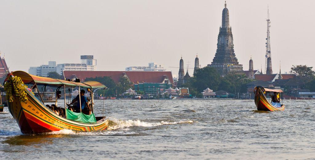 Wat Arun desde el río Chao Praya, Bangkok