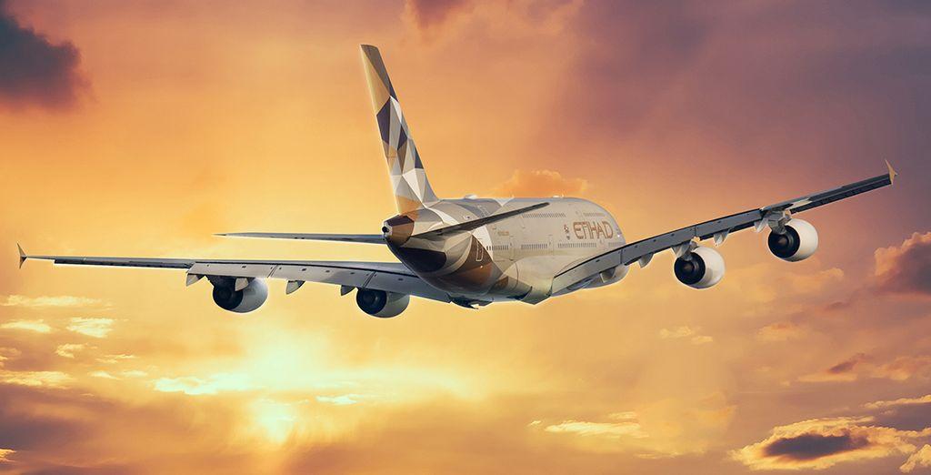 Pour rejoindre ces vacances de rêves, choisissez en option avec supplément de voyager avec la compagnie Etihad Airways