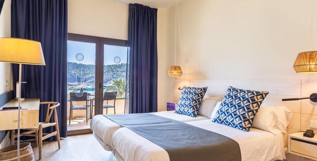 Chambre double haut de gamme à Palma de Mallorca en Espagne avec vue sur le port