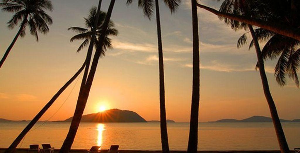 Un coucher de soleil face à l'hôtel