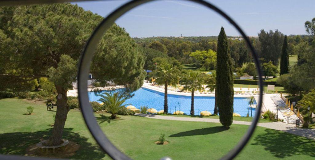 Appréciez la vue sur la piscine depuis la chambre