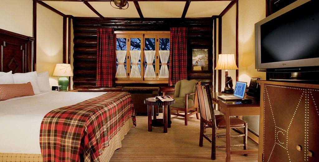 Confortablement installé dans votre chambre à la décoration montagnarde et chaleureuse