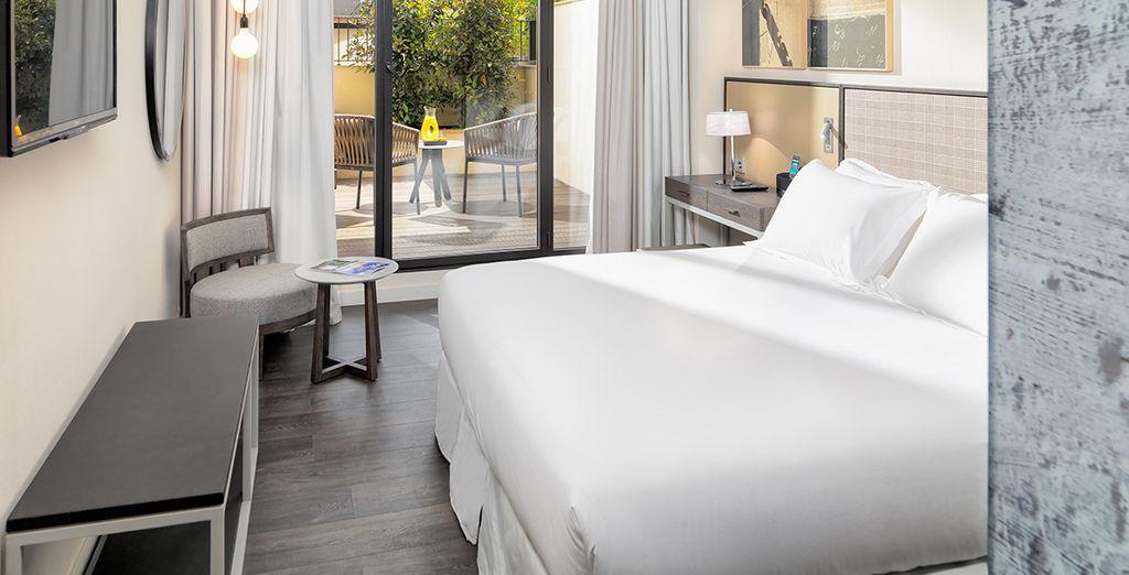 Vous séjournerez en chambre Deluxe avec terrasse