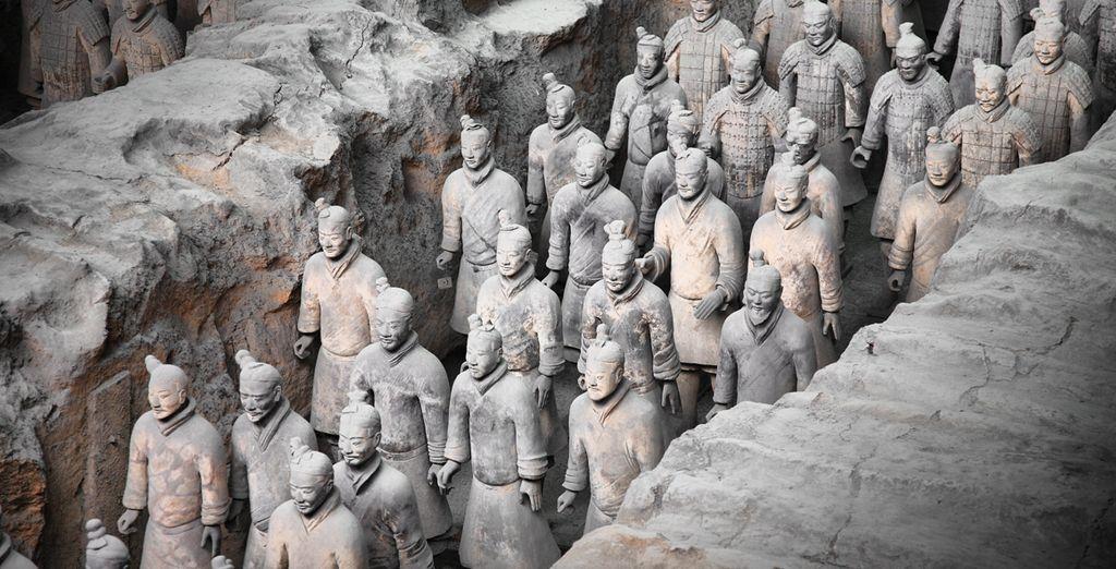 Photographie des soldats en terre cuite de Chine observé lors d'un voyage en Chine