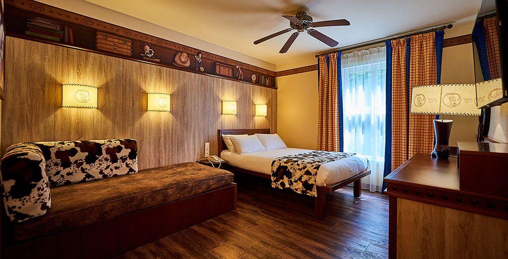 Hôtel Far West et cow-boy à Disneyland Paris insolite, chambre double tout confort