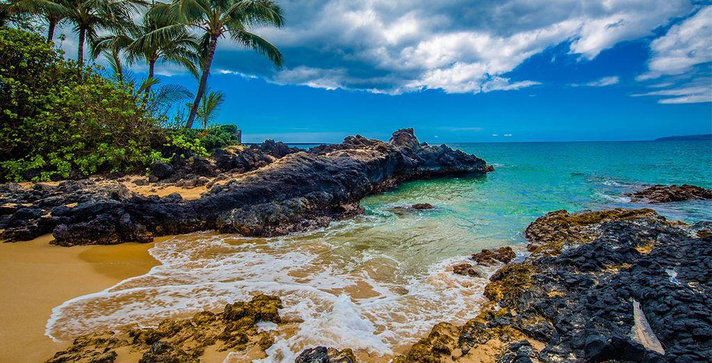 Photographie des côtes rocheuses de l'île de Maui