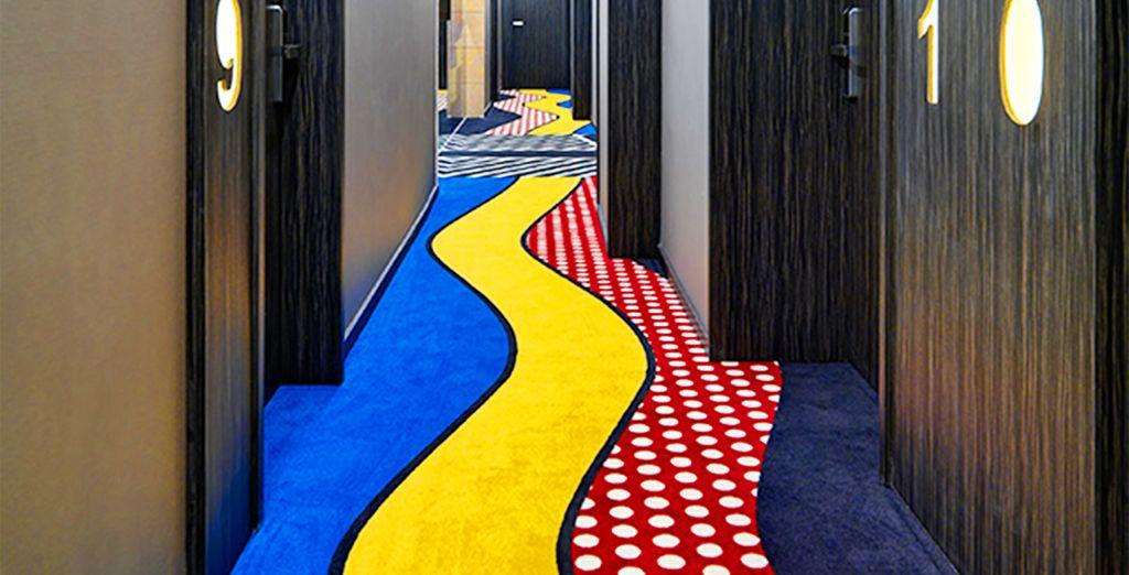 anche i corridoi regalano originalità e design all'ambiente