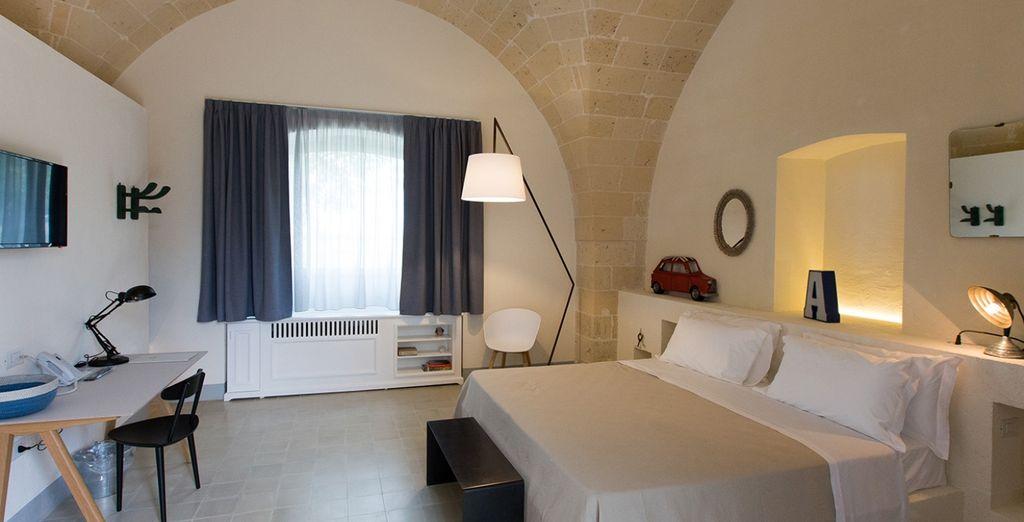 Soggiornerete in splendide camere Deluxe dal design moderno e tradizionale allo stesso tempo
