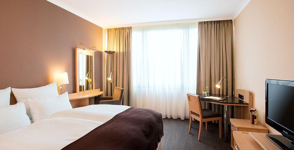 Hotel di lusso con una confortevole camera doppia nel centro di Berlino e vicino a tutte le attività.
