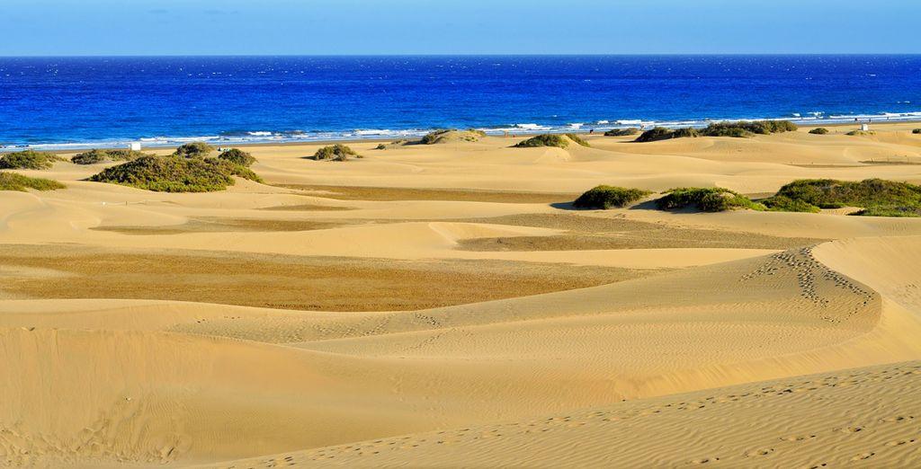 Vasto paesaggio di sabbia dorata e vista sul Mar Mediterraneo
