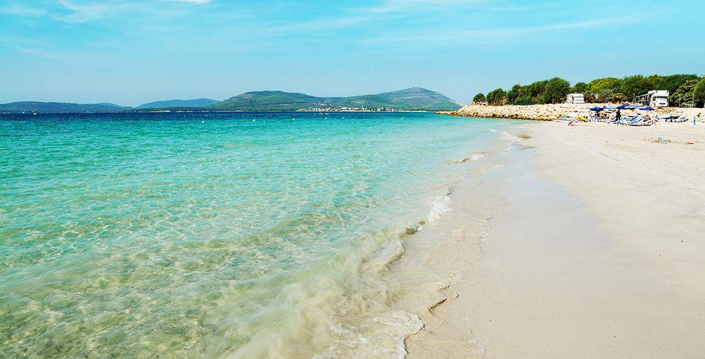 E godetevi le bianche spiagge della Sardegna.