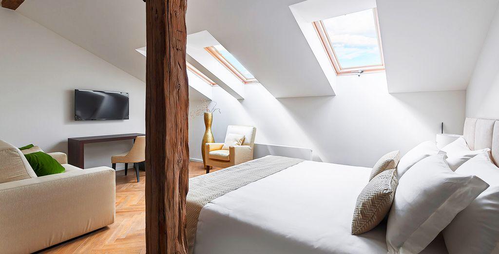 Potrete scegliere se soggiornare in eleganti camere Classic Plus