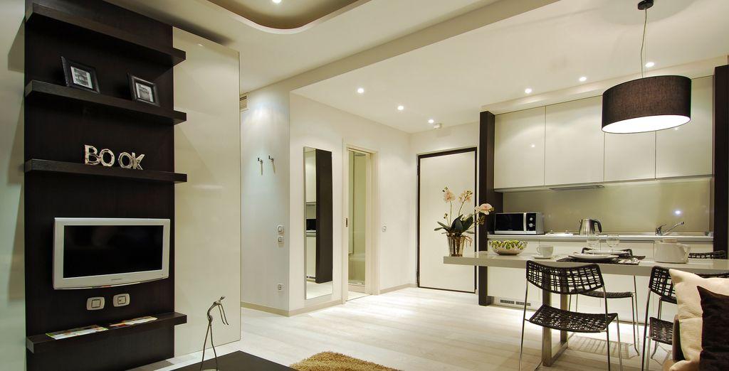 65 mq con camera da letto separata e cucina completa
