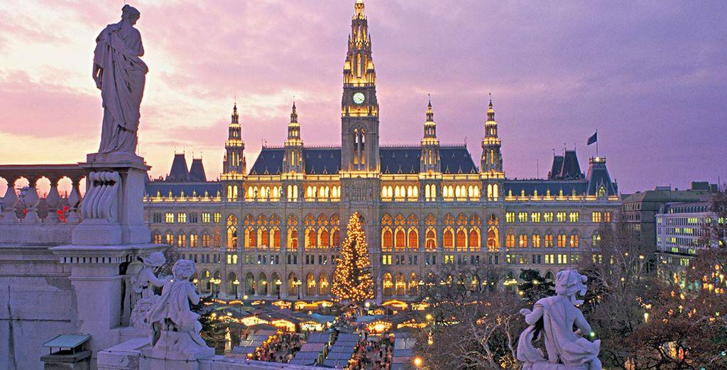 Fotografia della città di Vienna durante il periodo natalizio
