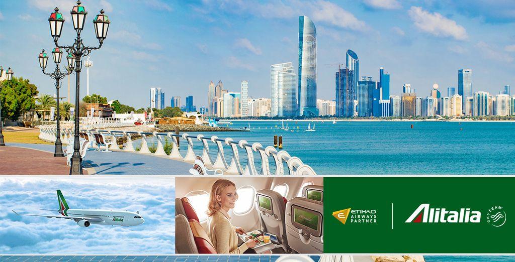 Partite per Abu Dhabi e scegliete il comfort e la qualità dei voli Alitalia