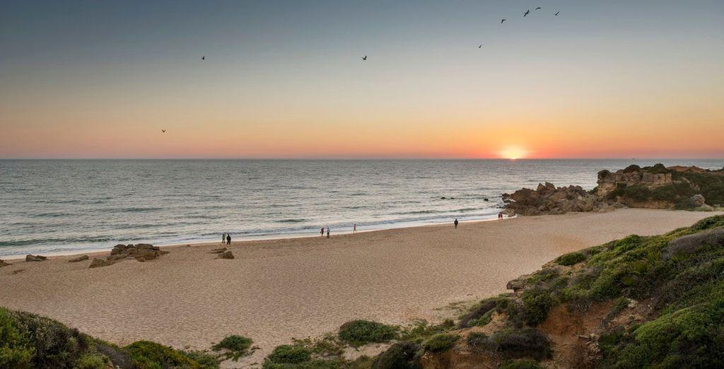 Geniet van een adembenemende zonsondergang op het strand