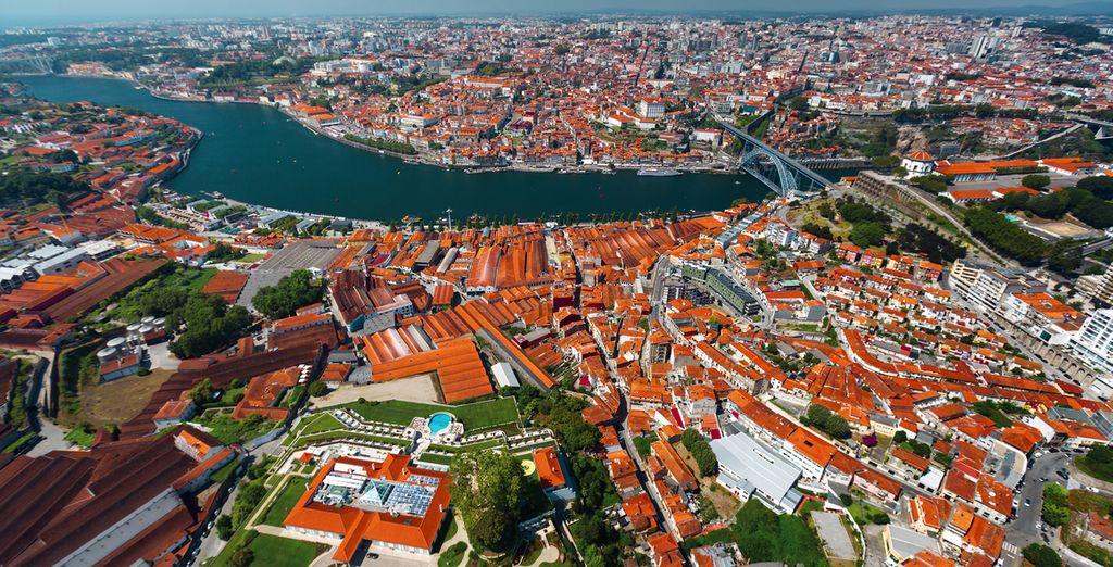 De stad van de port