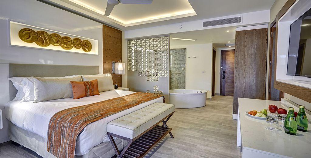 Waar u verblijft in een luxueuze kamer...