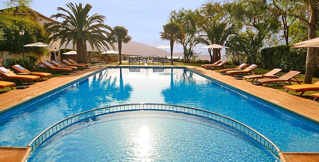 Zonnebaden bij het zwembad