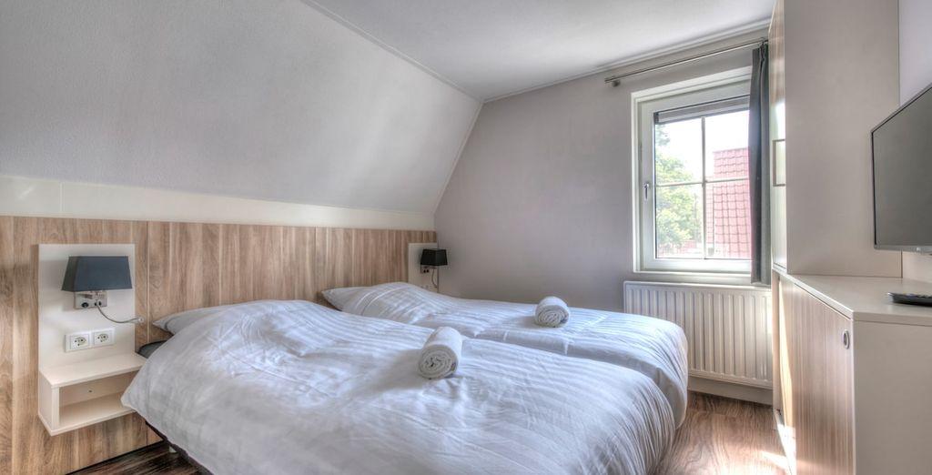 Heerlijk uitgerust wakker worden in de comfortabele bedden