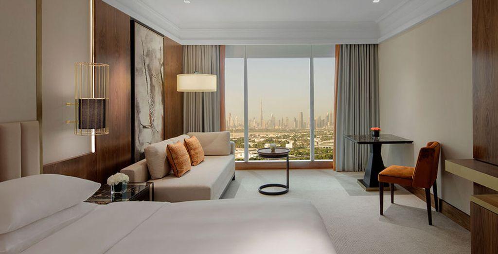 U verblijft in een Grand Downtown City View of een Club Downtown Wity View Kamer