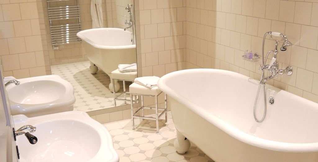 And a refined bathroom