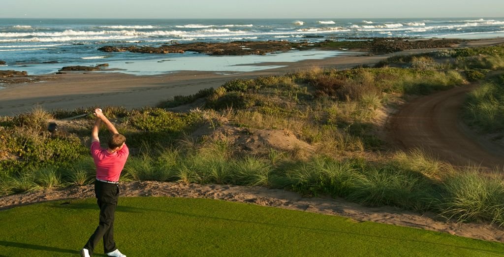 Practice your swing at the nearby golf course