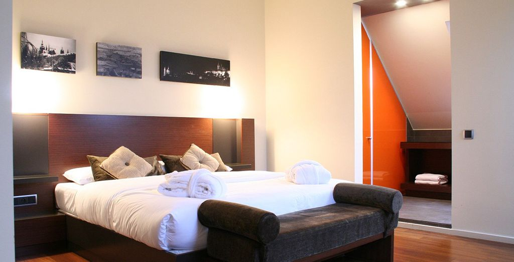 To a spacious modern room!
