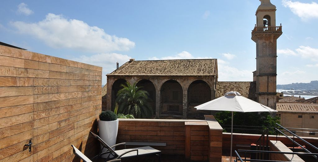 Escape to the rooftop terrace with a unique view of Palma